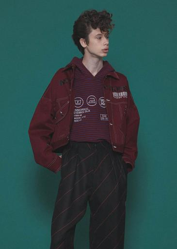 COLOR DENIM BLOUSON/Red