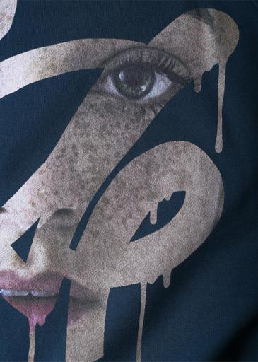 """FACE"" SWEAT PULL-OVER/NavyGreen"