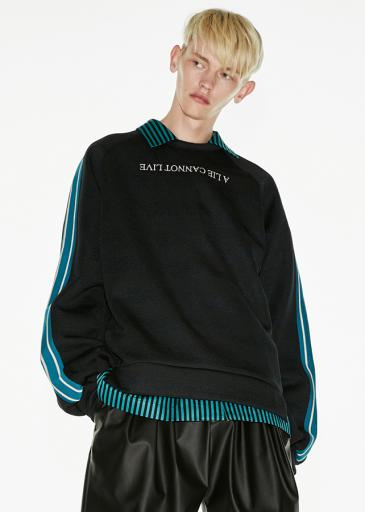 SHADOW BORDER L/S PULL OVER/Black