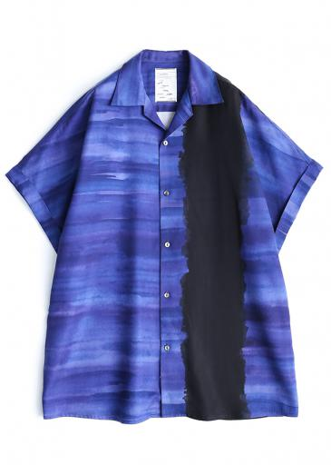 PATTERNED ALL OVER S/S BIG SHIRTS/Navy