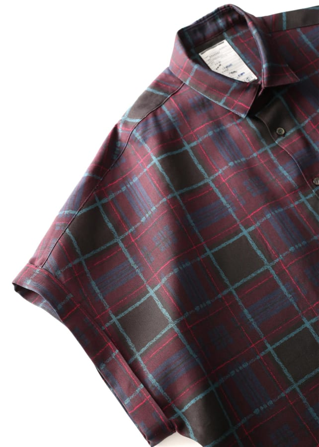 DRAWING CHECK DOLMAN S/S SHIRTS