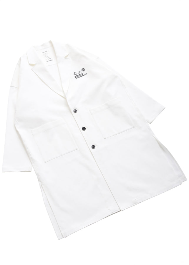 COTTON PIQUE LABORATORY COAT