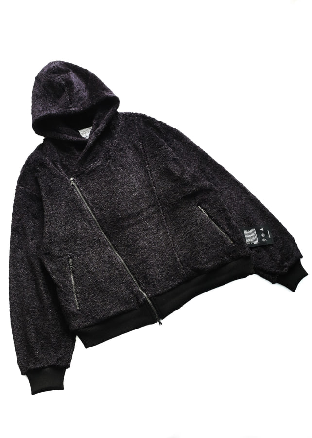 NYLON SHAGGY ZIP UP PARKA