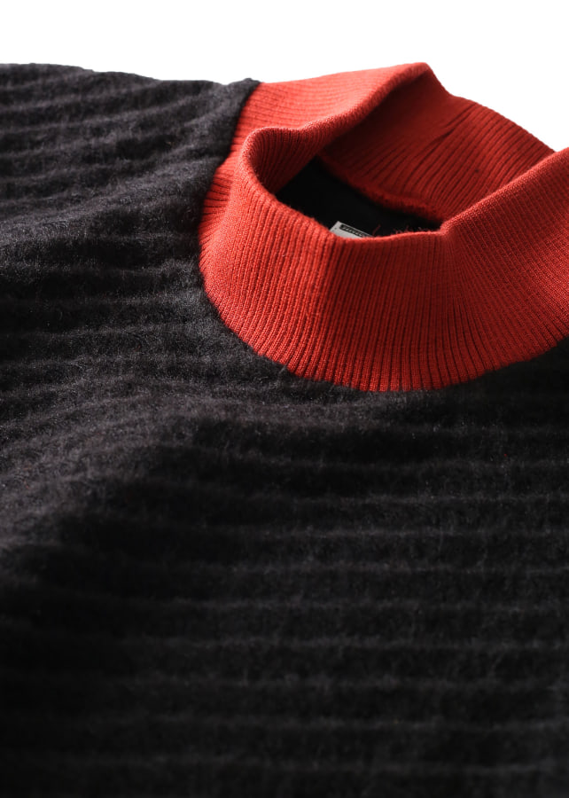 TWILL SHAGGY HIGH NECK PULL OVER
